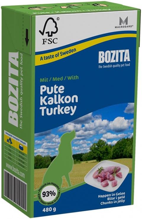 Konservi suņiem - BOZITA Chunks in Jelly with Turkey, Tetra Pack, 480g title=