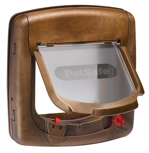Durvis dzīvniekiem – Staywell, PetSafe, Magnetic Cat Flap, brown, 25,2 cm x 24,1 cm title=
