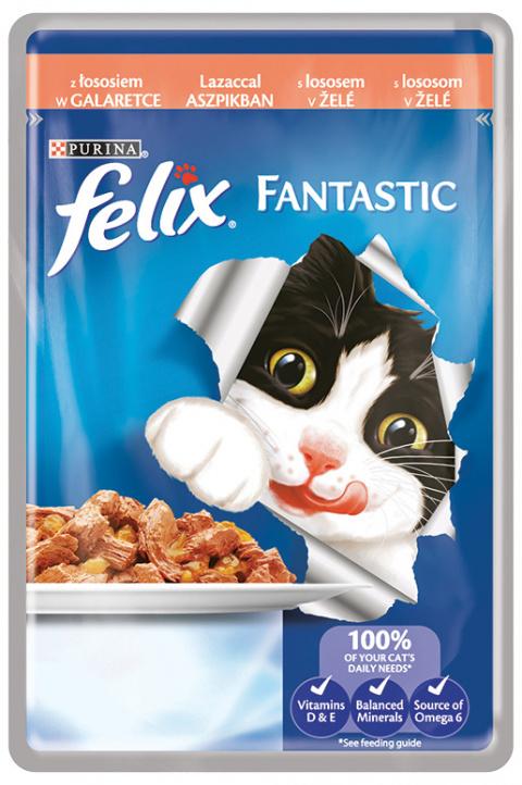 Консервы для кошек - Felix Fantastic с лососем в желе, 100 г title=