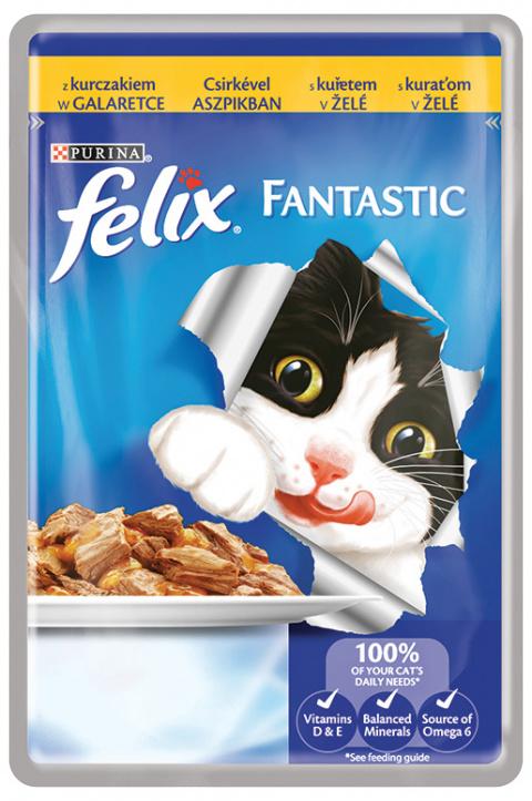 Konservi kaķiem - Felix Fantastic ar vistu želejā, 100 g title=