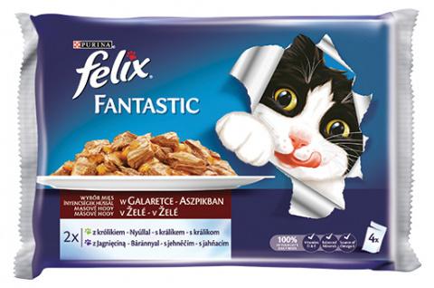 Konservi kaķiem - Felix Fantastic gaļas izlase, 4x100 g title=