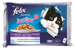 Konservi kaķēniem - Felix Fantastic Junior izlase ar vistas gaļu un lasi želejā, 4x100 g