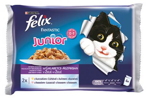 Konservi kaķēniem - Felix Fantastic Junior MIX, izlase ar vistas gaļu un lasi želejā, 4x100 g title=