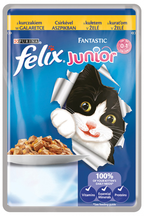 Konservi kaķēniem - Felix Fantastic Junior ar vistu, 100 g title=