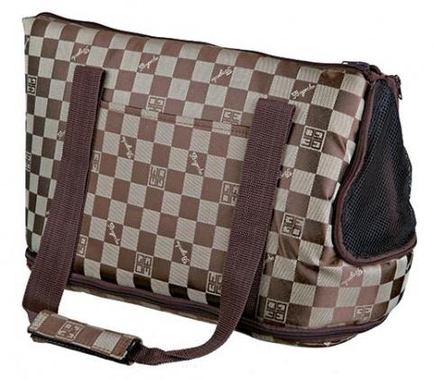 Transportēšanas soma dzīvniekiem - 'Chess' bag, neilona, 21*25*45 cm, brūna/bēša krāsa title=