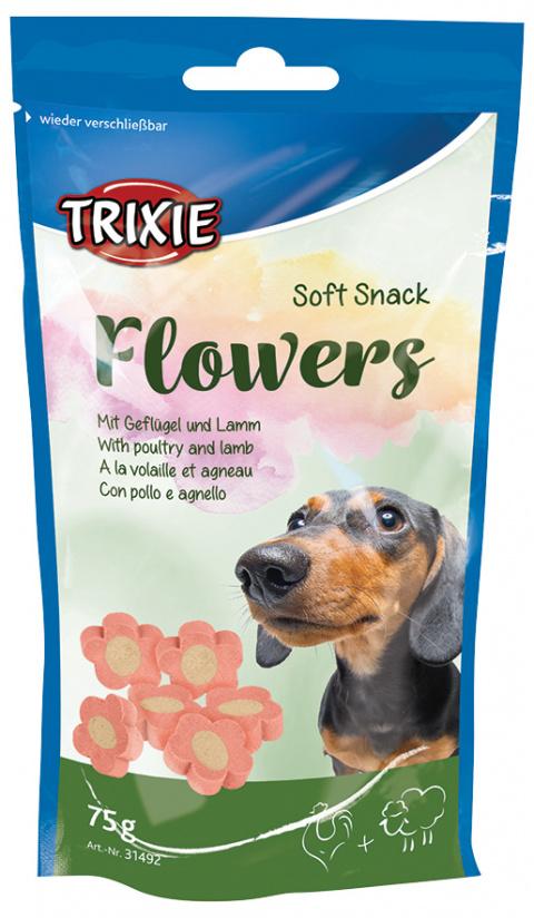 Gardums suņiem - TRIXIE Soft Snack Flowers, 75 g title=