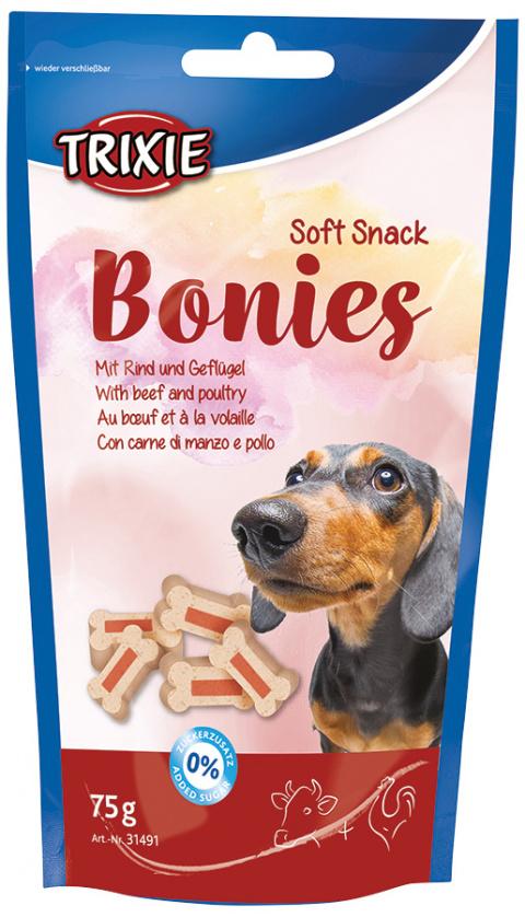 Лакомство для собак - TRIXIE Soft Snack Bonies, 75 g title=