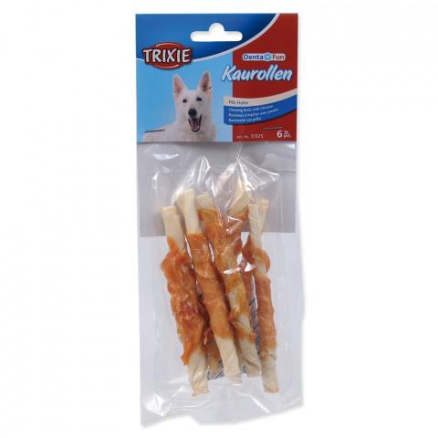 Лакомство для собак - TRIXIE Denta Fun Chewing Rolls with Chicken, 12 см/6 шт. title=