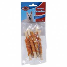 Лакомство для собак - TRIXIE Denta Fun Chewing Rolls with Chicken, 12 см/6 шт.
