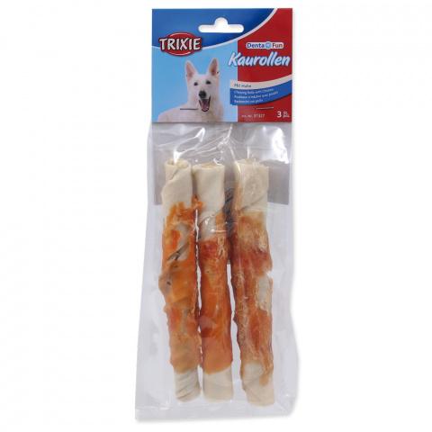 Лакомство для собак - TRIXIE Denta Fun Chewing Rolls with Chicken, 17 см/3 шт. title=