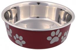 Bļoda suņiem - nerūsējošā tērauda bļoda ar plastmasas pārklājumu, 0.25l/12cm