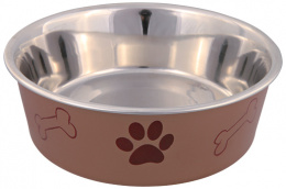 Bļoda suņiem - nerūsējošā tērauda bļoda ar plastmasas pārklājumu, 0.4l/14cm