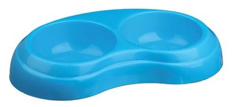 Миска для собак - Двойная пластиковая миска, 2*0.2l/10cm, разные цвета title=