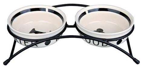 Bļoda suņiem keramikas - Eat on Feet Keramiska bļoda Set, 2*0.25l/13cm, balta/black