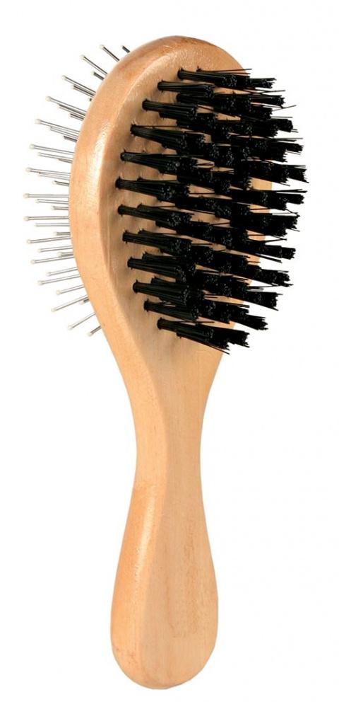 Расческа для собак, двойная, деревянная - Brush, double sided, 6*17cm title=