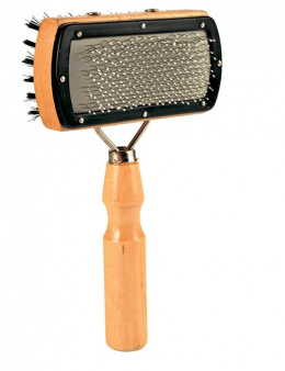 Расческа для собак, двойная, деревянная - Soft Brush, double sided, 10*18cm