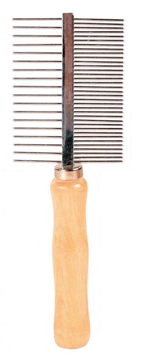 Расческа-фурминатор для собак, деревянная - Comb, double sided, 17cm