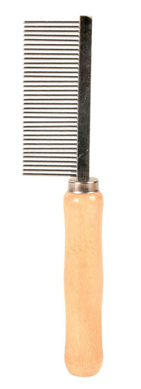 Расческа-фурминатор для собак, деревянная - Comb, 18cm title=