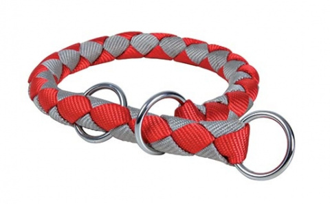 Ошейник для собак - TRIXIE Cavo Choker, нейлон, 39-45см/12мм, цвет - красный/серебряный