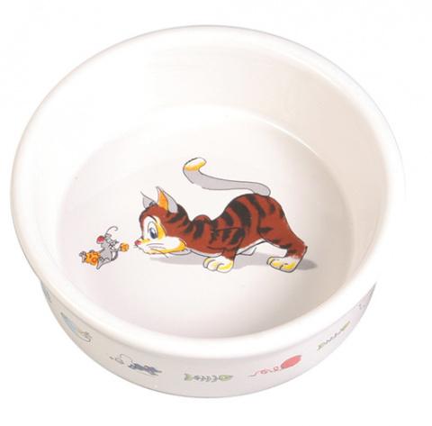 Bļoda kaķiem - Trixie Keramiska bļoda ar kaķa zīmējumu, 200 ml title=