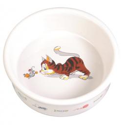 Bļoda kaķiem - Trixie Keramiska bļoda ar kaķa zīmējumu, 200 ml