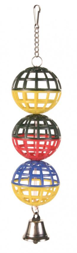 Игрушка для птиц - TRIXIE 3 пластиковых мячика с колокольчиками
