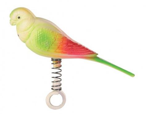 Игрушка для птиц - Попугайчик на пружине title=