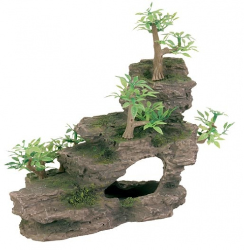 Dekors akvārijem - Polyester Rock stairs with plants, antracite, 19.5 cm title=