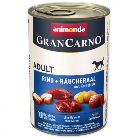 Konservi suņiem - GranCarno Plus Adult Smoked Eel and Potatoes, 400 g title=