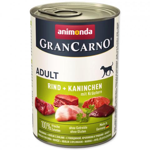 Konservi suņiem - GranCarno Plus Adult Rabbit and Herbs, 400 g title=