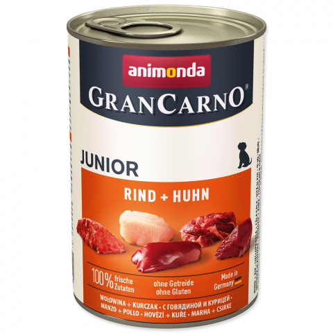 Konservi kucēniem - GranCarno Junior Beef & Chicken, 400 g