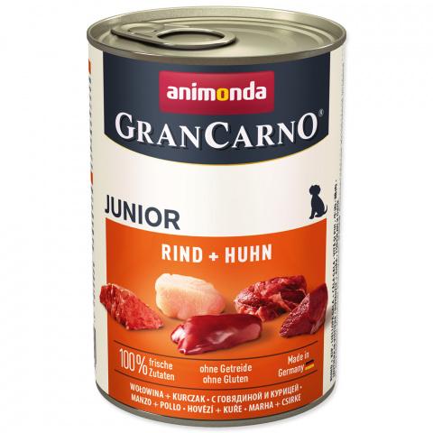 Консервы для щенков - GranCarno Junior Beef and Chicken, 400 g title=