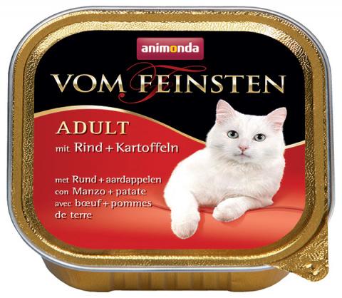 Консервы для кошек - Vom Feinsten Menu с говядиной и картофелем, 100 г title=