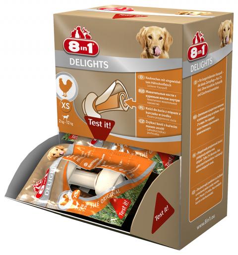 Gardums suņiem - 8in1 Delights XS box, 1 gab. title=