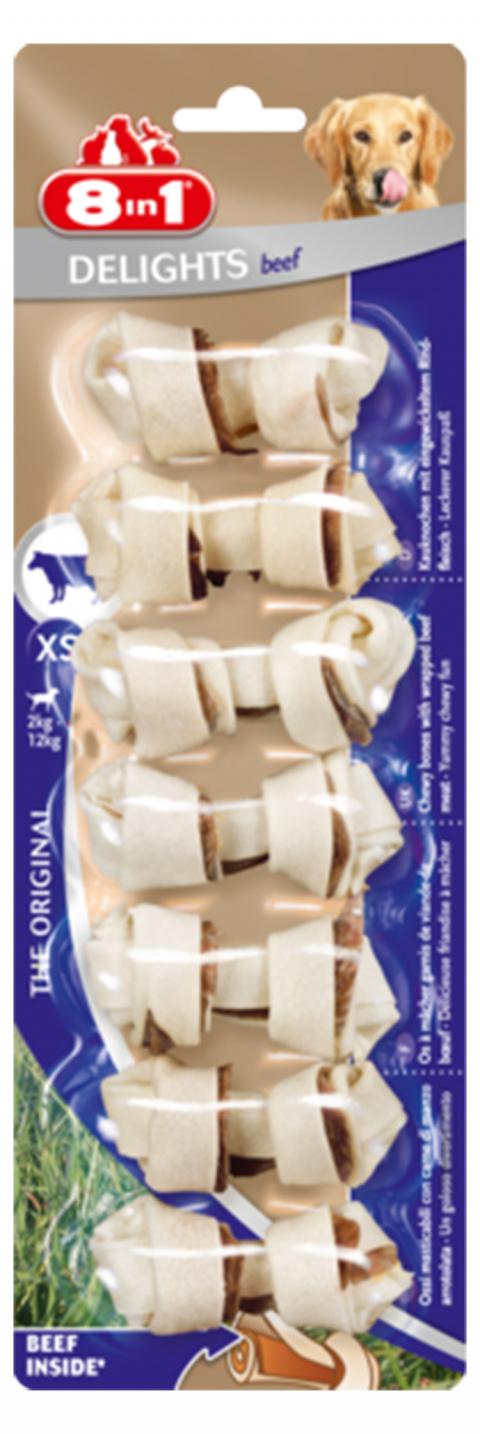 Gardums suņiem - 8in1 Delights Beef bones XS, 7 gab. title=