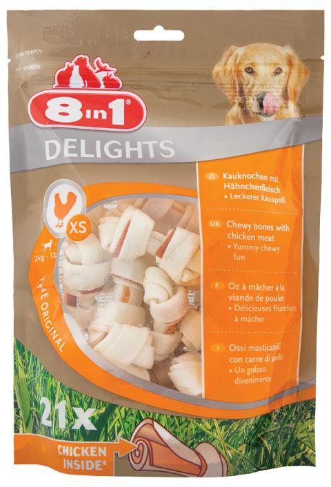 Gardums suņiem – 8in1 Delights bag XS, 21 gab. title=