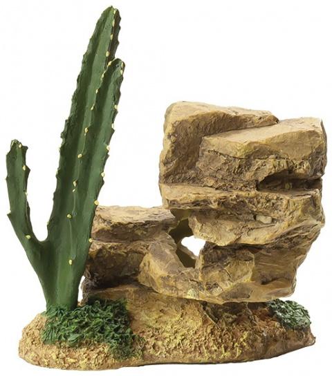 Dekors akvārijam - Akmens ar kaktusu, 12.2cm title=