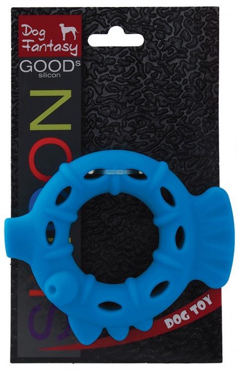 Rotaļlieta suņiem -  DogFantasy Good's Silikona košļājamā rotaļlieta, Pīle, 13.3*11*3.2cm, zila title=