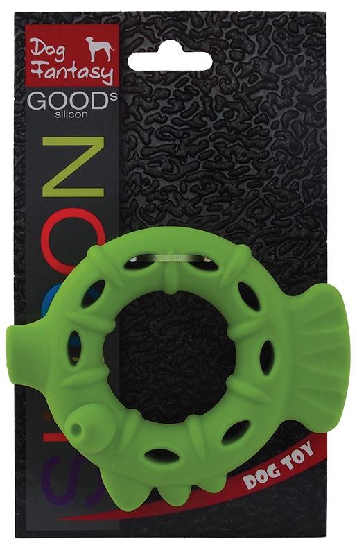 Rotaļlieta suņiem -  DogFantasy Good's Silikona košļājamā rotaļlieta, Pīle, 13.3*11*3.2cm, zaļa