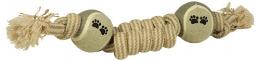 Игрушка для собак - DogFantasy Good's, игрушка из джута, рыба с оплеткой из 2 теннисных мячей, 36cm
