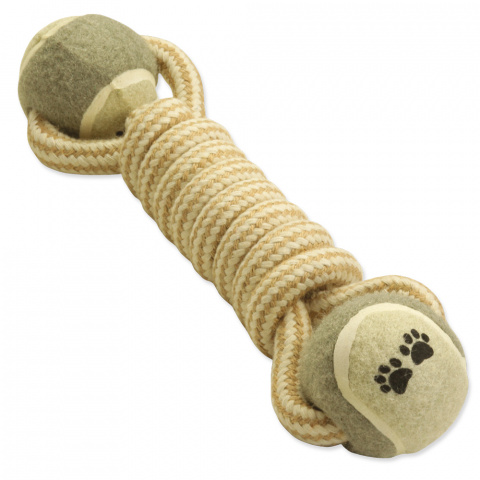 Игрушка для собак - DogFantasy Good's, игрушка из джута, 2 теннисных мяча, 28cm title=