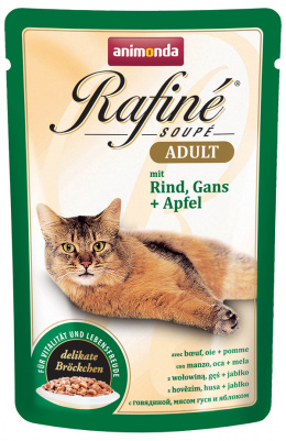 Konservi kaķiem - Rafine Soupe Adult Beef&Goose + apples 100g