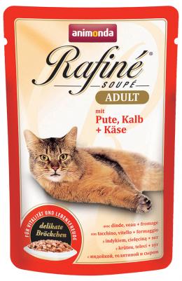 Konservi kaķiem - Rafine Soupe Adult Turkey&Calf + Cheese, 100 g