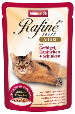 Konservi kaķiem - Rafine Soupe Adult Poultry&Rabbit + Ham, 100 g