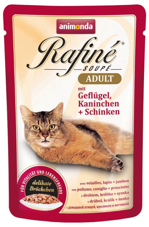 Консервы для кошек - Rafine Soupe Adult Poultry&Rabbit + Ham, 100 г