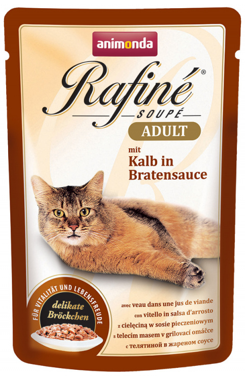Консервы для кошек - Rafine Soupe Adult Veal in Roasted Sauce, 100 г title=