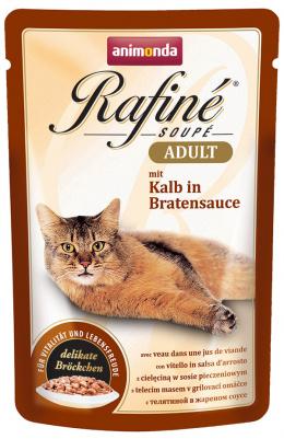 Консервы для кошек - Rafine Soupe Adult Veal in Roasted Sauce, 100 г