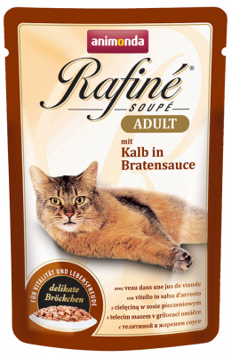 Консервы для кошек - Rafine Soupe Adult Veal in roasted sauce 100g