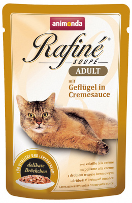 Konservi kaķiem - Rafine Soupe Adult Poultry in creme sauce 100g