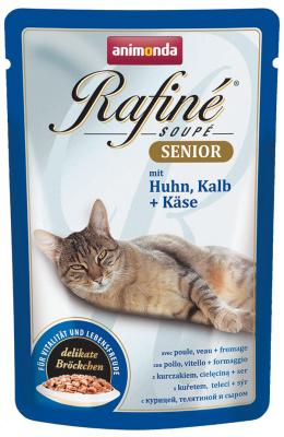 Konservi kaķiem - Rafine Soupe Senior Chicken&Calf + Cheese, 100 g